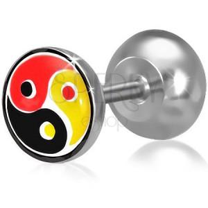 Fake plug a fülbe acélból, színes Yin-Yang motívum