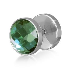 Hamis piercing a fülbe acélból, kerek, zöld színű cirkóniával