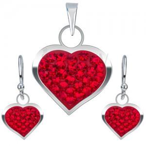 925 ezüst ékszer szett, fülbevaló és medál, piros cirkónia szívek