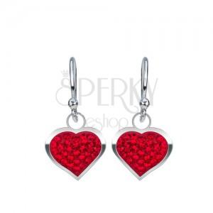 925 ezüst fülbevaló - fényes, piros szívek cirkóniákkal kirakva