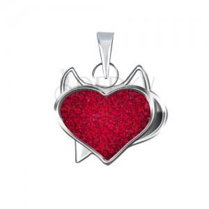 Medál 925 ezüstből piros színű kalóz szívvel és cirkóniákkal