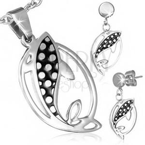 Ékszer készlet acélból - fülbevaló és medál, halak