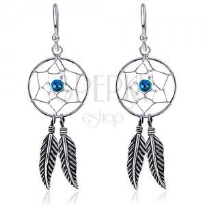 925 ezüst fülbevaló kerek álomfogóval, kék kövecske, tollak