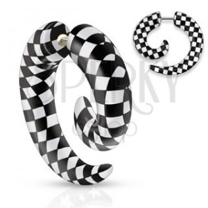 Hamis akril expander a fülbe, spirál fekete-fehér sakktábla minta