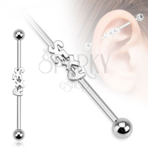 Acél piercing a fülbe - súlyzó SEXY felirattal és golyókkal