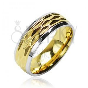 Gyűrű sebészeti acélból - arany-ezüst szín, hullámzó motívum