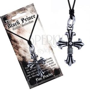 Fekete nyaklánc zsinórral és fém medállal, dupla kereszt, liliom végek