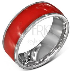 Acél gyűrű - fényes, piros karika, ezüstös szélek, 8 mm