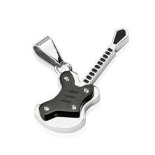 Nemesacél medál - kis gitár, fekete és ezüst színben