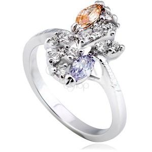 Fényes gyűrű fémből - ezüst szín, virág, hosszúkás cirkóniák