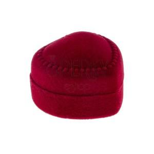 Piros ajándékdoboz gyűrűnek - bársony szív pöttyekkel