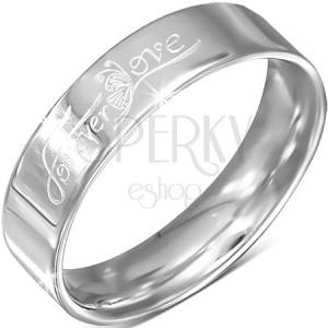 """Acél karika gyűrű, ezüst szín, """"Forever Love"""" felirat lepkével , 6 mm"""