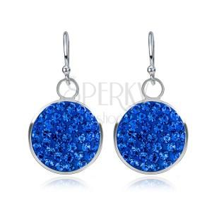 Függő, ezüst fülbevaló - kék színű cirkónia kör, 11 mm