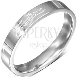 """Gyűrű acélból, fényes karika """"Forever Love"""" felirattal, 4 mm"""