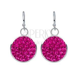 Ezüst fülbevaló - rózsaszín cirkóniák kör alapon, 11 mm