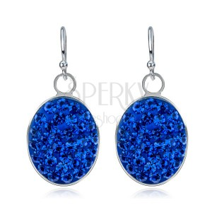Nagy függő fülbevaló 925 ezüstből - kék színű ovális, cirkóniák