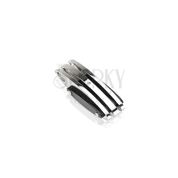 Medál acélból - ezüst és fekete ovális lapok, cirkónia