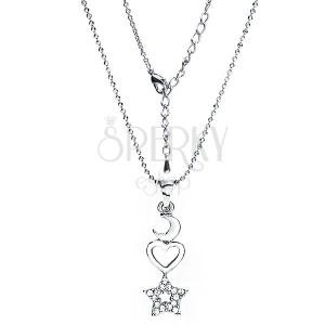 Ródiumozott nyakék és medál - hold, szív és cirkónia csillag