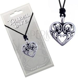 Madzagos nyaklánc - fényes fém medál, díszített szív