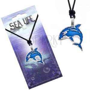 Fekete madzagos nyaklánc, fém medál, kék színű nagyhal