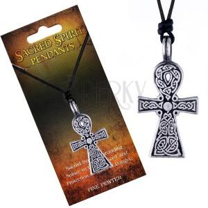 Fekete madzagos nyaklánc, Sacred Spirit kereszt medál, kelta csomók