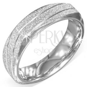 Négyszögletes gyűrű acélból - ezüst szín, szemcsés felület, bevágások