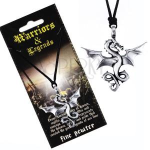 Madzagos nyaklánc - fekete szín, fém medál, repülő sárkány