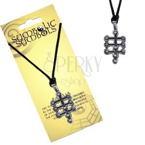 Fekete zsinóros nyaklánc - fém medál, az élet fája