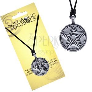 Nyaklánc zsinórral és fém medállal, gravírozott pentagramm