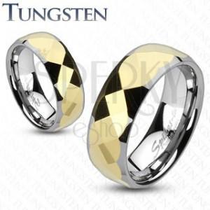 Volfrám gyűrű - kétszínű, arany színű geometreiai mintás, csiszolt sáv