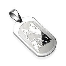 Nemesacél medál - ovális fémlap, fényes kutya mintázat