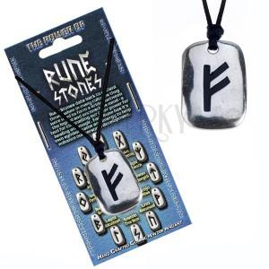 Fekete madzagos nyaklánc - fényes fém tábla Fehu rúnajellel