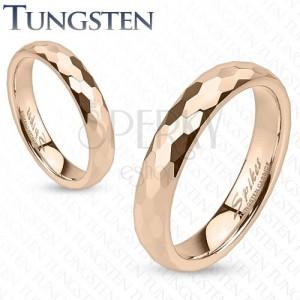Tungsten karika gyűrű - vörösarany szín, csiszolt hatszög minták