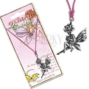 Nyaklánc - rózsaszín zsinór, fém medál, tündér a virággal