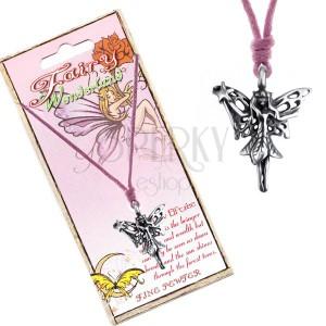 Madzagos nyaklánc - fém medál, erdei tündér varázs pálcával