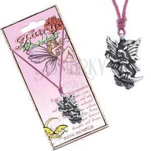 Rózsaszín madzagos nyaklánc, fém medál, álom tündér