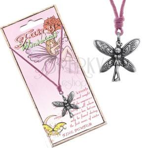 Zsinóros nyaklánc - fém medál, szégyenlős tündér, díszített szárnyakkal