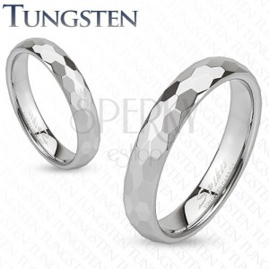 Gyűrű volfrámból - ezüst színű karika, csiszolt, hatszögletes minta