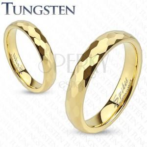Volfrám gyűrű - arany színű karika csiszolt mintával, hatszögek