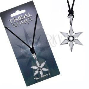 Fekete madzagos nyaklánc fém medállal, fém csillag