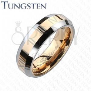 Tungsten karikagyűrű - vörösarany sáv római számokkal