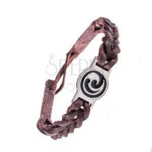 Karkötő bőrből - sötétbarna fonat, maori ornamentum