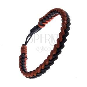 Kétszínű fonott karkötő bőrből - egyszerű fonat