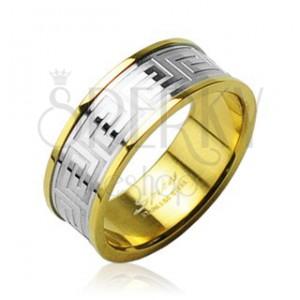 Gyűrű sebészeti acélból - arany, ezüst sávval, labirintus