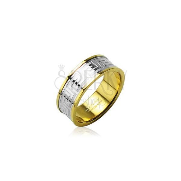 Sebészeti acél gyűrű aranyszínű szegéllyel ezüstszínű sávval