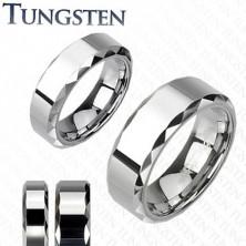 Wolfrám gyűrű, ezüst árnyalat, lemetszett csiszolt szélek, 8 mm