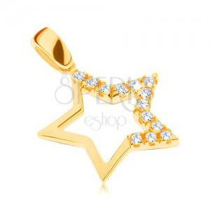 585 arany medál - nagy csillag három ágán csiszolt kövekkel