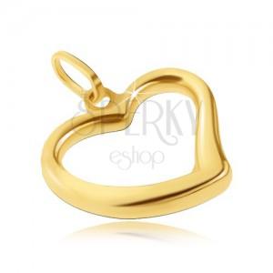 585 arany medál - fényes szívecske szabálytalan alakban