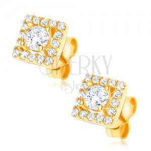 Fülbevaló aranyból 585 - négyzet tiszta kövekkel kirakva, 6 mm