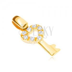 14K arany medál - kulcs cirkónia köves szívfejecskével